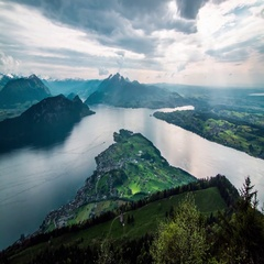 Timelapse of Lucerne and Pilatus Stock Footage