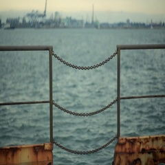 The fence of rusted chains at the port Stock Footage