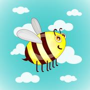 Cartoon cute bees on sky with clouds vector illustration Stock Illustration