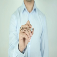 Upgrade, Writing On Transparent Screen Stock Footage