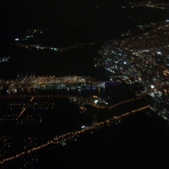 City skyline from the airplane at night Stock Footage