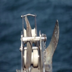 Hoist anchor a small boat Stock Footage