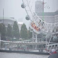 Rain in England: Millenium Wheel in London Stock Footage