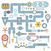 Machine parts vector illustration Stock Illustration