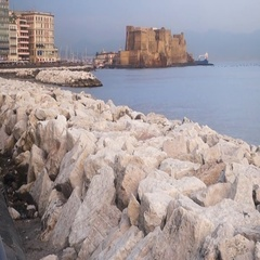 Castle dell Ovo in Naples city panorama, Italy Stock Footage
