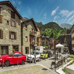 Hyperlapse of quiet beautiful street in La Massana, Andorra. Stock Footage