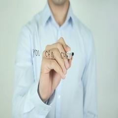 You can change, Writing On Transparent Screen Stock Footage