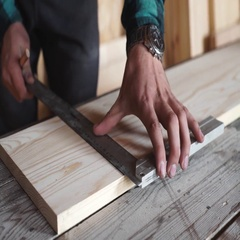 Male hands with ruler and pencil closeup. Professional carpenter at work Stock Footage