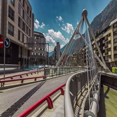 Timelapse of city traffic at the bridge in Andorra La Vella, Andorra. Stock Footage