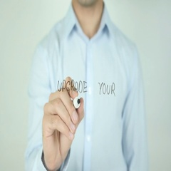 Upgrade Your Life, Writing On Transparent Screen Stock Footage