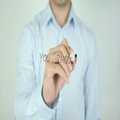 You Should, Writing On Transparent Screen Stock Footage