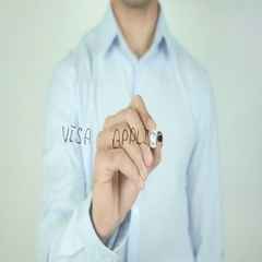 Visa Application, Writing On Transparent Screen Stock Footage