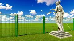 Greek goddess of law and justice behind wire fence 3D rendering Stock Illustration