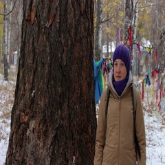 Portrait of a girl near a big old tree, larch Stock Footage