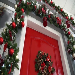 Broaching view of the door decorated for Christmas Stock Footage