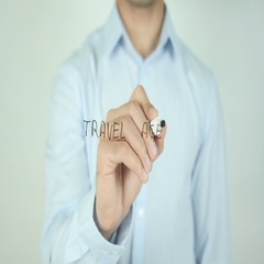 Travel Agent, Writing On Transparent Screen Stock Footage