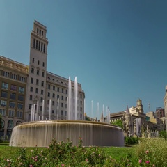 Hyperlapse of the fountains at Plaça Catalunya, Barcelona, Spain. Stock Footage