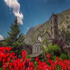 Timelapse of Sant Esteve old church in d'Andorra la Vella, Andorra. Stock Footage