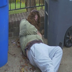 Homeless guy vagrant sleeping Stock Footage