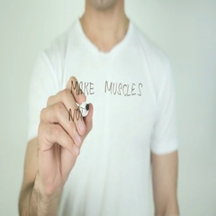 Make Muscles Not Excuses, Writing On Transparent Screen Stock Footage