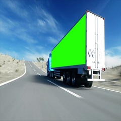 Truck on the road, highway. Transports, logistics concept. Green screen footage. Stock Footage
