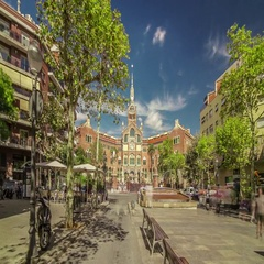 Hyperlapse of Hospital de la Santa Creu i Sant Pau, Barcelona, Spain. Stock Footage