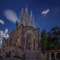 Hyperlapse of Sagrat Cor Temple at Tibidabo mountain, Barcelona, Spain. Stock Footage