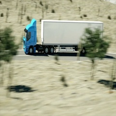 Truck on the road, highway. Transports, logistics concept. 3d rendering. Stock Footage