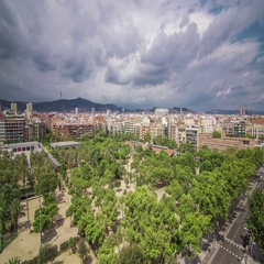 View from the Les Arenes mirador in Barcelona Spain. August 2013. Stock Footage