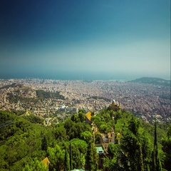 Barcelona summer day timelapse from Tibidabo Mountain mirador, Catalunya, Spain. Stock Footage