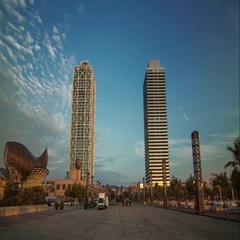 Sunrise timelapse of twin-towers in Barcelona, Spain. August 2013. Stock Footage