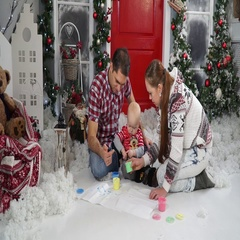Dad paint spoil the child sitting in the snow Stock Footage