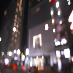 Blurry Korean Street Lights in Seoul Stock Footage