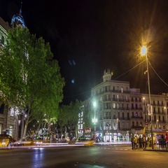 Night city-traffic timelapse at Catalunya Square in Barcelona, Spain. Stock Footage