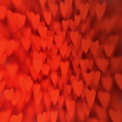 Valentine's Day card: a huge amount  of red hearts bokeh, slow motion Stock Footage