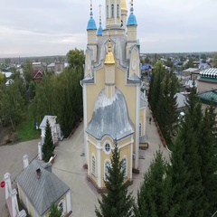 Building of yellow church Stock Footage