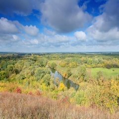 Movement of clouds over the river Seversky Donets. Donetsk region, Stock Footage