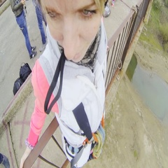 Girl jumping from the bridge forward in the first person Stock Footage