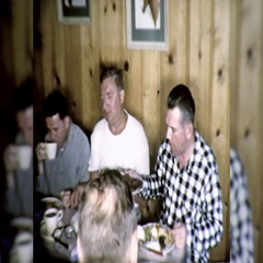 Men Eat Lunch Party Vacation Meal Together 1960s Vintage Film Home Movie  Stock Footage