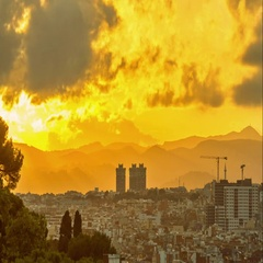 Sunset above the city from Montjuic mountain. Barcelona, Spain. Stock Footage