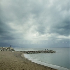 Seastorm is comming on the beach at Barcelona, Spain. Stock Footage