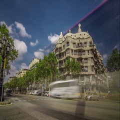 Timelapse of La Pedrera (Casa Milà) with city traffic, Barcelona, Spain. Stock Footage