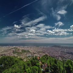 Aerial timelapse of Barcelona city from Tibidabo mountain, Spain. Stock Footage