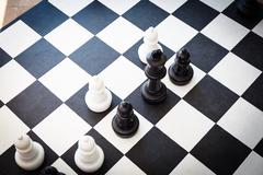 Black and white chessboard Stock Photos