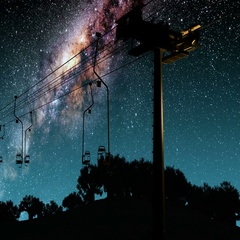 Ski resort and Milky Way stars at night. Elements of this image furnished by NAS Stock Footage