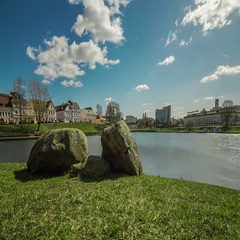 Motorized timelapse of the Trinity Hill in Minsk with Svisloch river, Belarus. Stock Footage