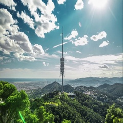 Timelapse of Torre de Collserola from Tibidabo mountain, Barcelona, Spain. Stock Footage