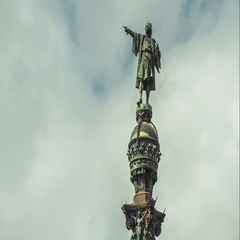Close-up view of the Monument of Christopher Columbus, Barcelona, Spain. Stock Footage