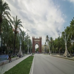 Hyperlapse of the Arc de Triomf in Barcelona, Spain. Stock Footage