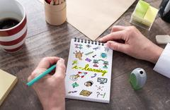 E-learning concept on a notepad Stock Photos